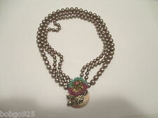 Necklace Miriam Haskell 3 Strand Faux Pearl Bead Flower Rhinestone Shell Pendant