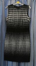"Ladies Esprit black/white hounstooth check wool mix dress knee length bst 36"" vg"