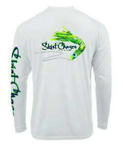 Men's Long Sleeve White Mahi UPF 50+ Microfiber Performance Fishing Shirt