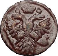 1739 ANNA IVANOVNA Russian Empress Antique Denga 1/2 Kopek Coin Eagle i56434