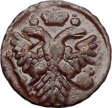 1739 ANNA IVANOVNA Russian Empress Antique Denga 1/2 Kopek Coin Eagle i56434