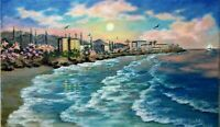 "ArtSALE ENDS 11/28   14""/8,5""oil painting,seascape,sunset, Oceanside"