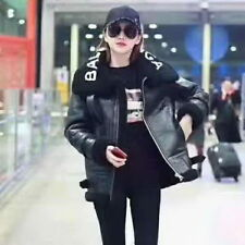 Warm Loose Black Letter Fur Shearling Leather Coat Runway Occident 94f