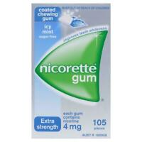 Nicorette Coated Chewing Gum 4mg - Sugar-free Icy Mint Extra Strength - 105 Pcs