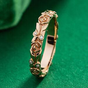 18K Gold Women Engraved Rose White Sapphire Jewelry Ring Wedding Jewelry Sz 5-10
