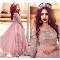 Long Sleeves Tulle Evening Dresses Lace Princess Muslim Ball Gown Custom Made