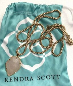 KENDRA SCOTT Faceted Rose Quartz Stone In Gold Tone Chain Long Necklace