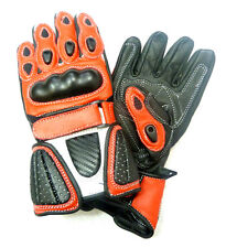 Kids Childrens Sport Minimoto Motorcycle  Racing Leather G-304 Glove Red - T