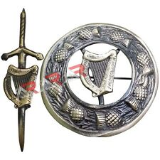 Lyre Harp Kilt Pin and Brooch Badge Set Fly Plaid High Quality Antique Finish