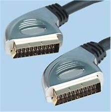 1.8m, HQ Scart Plug To Plug Lead, TV LCD DVD 24K Gold Plated Contacts OFC Cable