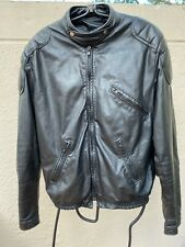 Vintage Brooks Black Leather Racer Motorcycle Jacket W/ Fleece Liner Sz 40