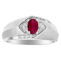 Ruby & Diamond Ring Sterling Silver or Yellow Gold Plated Silver Genuine Ruby