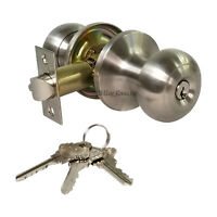 High Quality Door Knob Lock Entry Keyed Cylinder 3 Keys Exterior Interior Sc1 SS