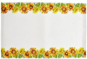 Set of 4 Kitchen Fabric Thin Placemats, SUNFLOWERS TOP & BOTTOM w/white back, GR