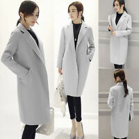 Women Outwear Winter Warm Wool Lapel Long Slim Trench Parka Coat Jacket Overcoat