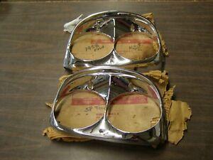 OEM 1958 Ford Fairlane 500 Chrome Headlight Door Bezels Trim Headlamp nos
