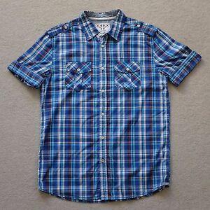 Kenji Men's Casual Button Front Short Sleeve Shirt Check Plaid Size M MEDIUM