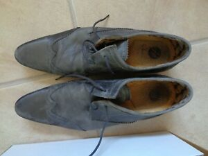 MENS H BY HUDSON SWINGER GREY LEATHER CLASSIC BROGUE LACE UP SHOES SIZE UK 9 43