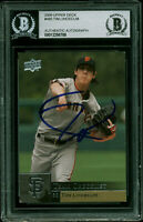 Giants Tim Lincecum Authentic Signed 2009 Upper Deck #485 Card BAS Slabbed