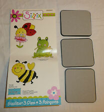 Sizzix Sizzlits Bugs and Frog Set - 3 Dies - Bee Ladybug Frog w/ Flower 655860
