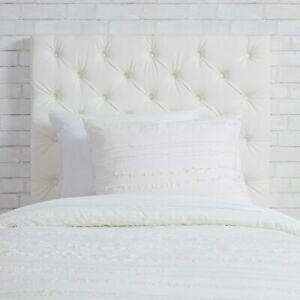 Tufted Faux Leather White Headboard Twin/Twin XL with Charging Station