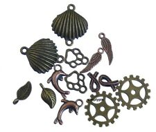 14 Pcs Antiqued Brass Copper Components Charms Links Dolphin Shell Leaf Wing +