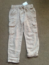 NEXT Girls Neutral Beige Cream Linen Blend Combat Trousers 2-3 Years