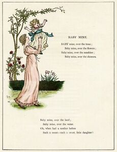 BABY MINE - Mother and Daughter - 1885 Victorian Era Childrens poetry art