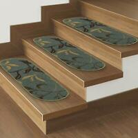 """Ottomanson Collection Ottohome 7 Pack Leaf Oval Stair Tread 9""""X26"""" Green,"""