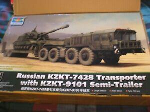 1/35 TRUMPETER KZKT-7428 TRANSPORTER WITH 9101 SEMI TRAILER NEW   MODEL  KIT