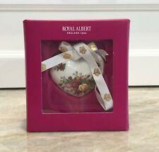 "NIB Royal Albert Old Country Roses Heart Christmas Ornament 2"" Retired NEW"
