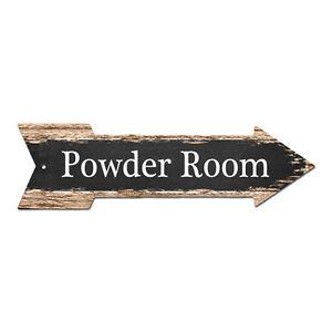 AP-0019 POWDER ROOM Arrow Street Tin Chic Sign Name Sign man cave Decor Gift