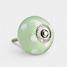 Green With White Spots Polka Dot Ceramic Cupboard Drawer Pulls Cabinet Door Knob