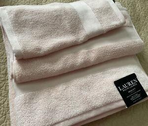NWT Lauren Ralph Lauren WESCOTT  3 Piece Bathroom Towel Set Solid Pale Pink