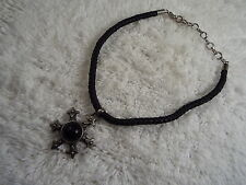 ROBERT ROSE Black Pewtertone Pendant Medieval Style Necklace  (C2)