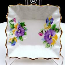 """QUEEN ANNE ENGLAND SPRING MELODY PANSIES AND GOLD RIM 4"""" SQUARE TRINKET DISH"""