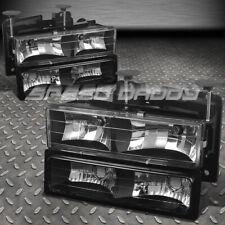 FITS 88-98 GMC SIERRA/SUBURBAN C/K 1500/2500/3500 BLACK HEADLIGHTS+BUMPER LAMPS