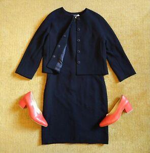 Luxury JAEGER Black 100% Wool Shift Pencil Dress & Jacket Suit SIZE 12 RRP£350