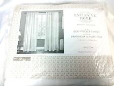 Home Santos Linen Textured Curtain Panel Pair with Rod Pocket white 54x96
