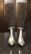 NWOB Ron White,  Black Leather Boots Silver Snake Print Women's Size EUR 40 US 9