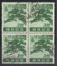 RYUKYUS.1951. GREEN.$3 BLOCK OF 4,V/F USED SG#20
