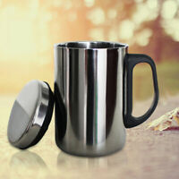 1* 500/350mlSilver Stainless Steel Insulated Mug Travel Cup Water Coffee Tea Cup
