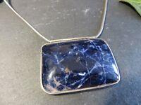 Begeisterndes 925 Silber Collier Kette Großer Blauer Stein Schlangenkette Schwer
