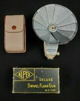 VINTAGE Alpex Deluxe Swivel Flash Gun BC Type - Flash Leather Case Original Box