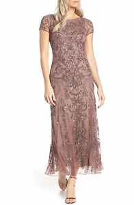 Pisarro Nights Embellished Mesh Gown Size 6 Color Mauve(88)