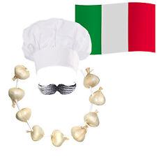 ITALIAN Chef/Cuoco Costume: Cappello + BAFFI + AGLIO CIPOLLA Garland + BANDIERA