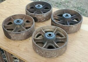 Set Of Four Cast Iron Wheel Lot Industrial Cart Steam Punk Hit Miss RR Railroad
