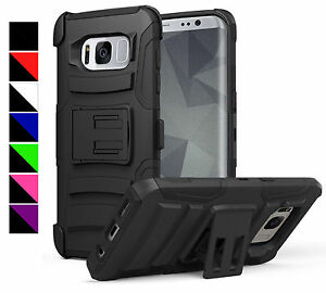 FOR SAMSUNG PHONE MODELS RUGGED ARMORED DUAL LAYER CASE COVER+CLIP HOLSTER+ FILM