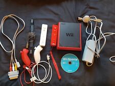 Nintendo Wii Mini Console Red with 2 Remotes & nunchucks and Wii Sports