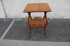 American Victorian Tiger Oak Square Lamp, Side Table